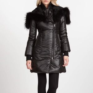 MACKAGE Liz Black Fur Trimmed Down Coat